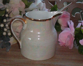 Vintage Medium Size Pitcher Opalescent with Gold Detail Made in Germany
