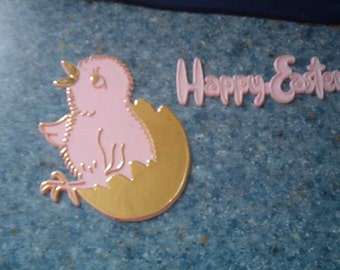 Vintage Shabby Chic Pink Easter Cake Decoration Chick Hatching from Egg & Wording Happy Easter