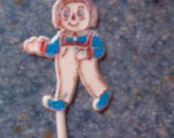 Vintage Hard Plastic Raggedy Andy Cake Cupcake Topper Decoration