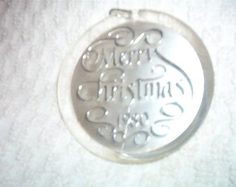 1980 Merry Christmas Round Silver and Clear Christmas Ornament Shabby Chic