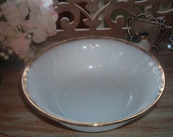Retro Fire King Ware Milk Glass Serving Bowl White Swirl with Gold on rim
