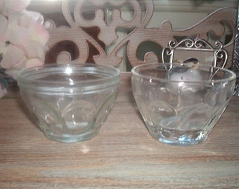 Vintage lot of 2 Thumb Print Small Clear Glass Bowls One Bowl One Jam Jar