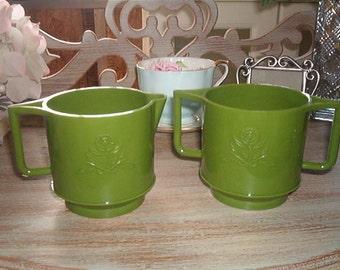 Retro Green Hard Plastic Stackable Creamer and Double Handle Sugar Bowl