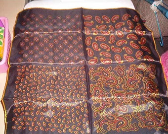 Vintage 100% Acetate Hand Rolled Japan Womans Scarf Black with 4 different designs