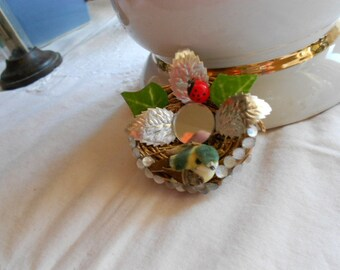 Shabby Chic Bird on gold birds nest clear beads silver foil leaves green leaves red lady bug