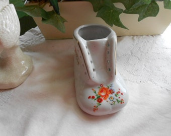 Vintage Ceramic Baby Shoe with roses and other flowers White Red Orange Green Blue Yellow