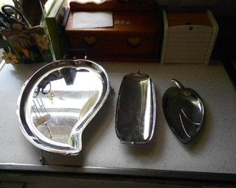 Lot of 3 Retro Silver Metal Serving Trays 2 Leaf Shape 1 rectangle shape