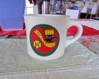 Vintage Girl Scout Porcelain Mug Heart of Missouri Girl Scouts USA