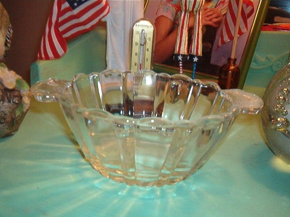 Vintage Clear Glass BOWL with handles