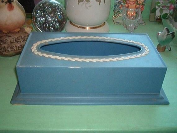 Vintage Hard Plastic Kleenex Box Holder Tissue Holder Blue
