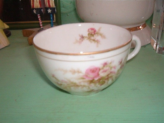 Vintage Shabby Chic LIMOGES Porcelain CUP Pink Roses White Roses