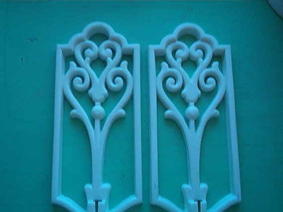 1982 Homco Set of 2 White Shabby Chic Wall Plaques