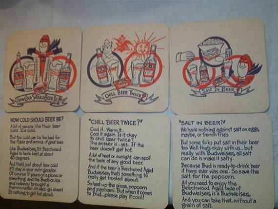 6 Vintage Never Used Bud Man Budweiser Beer Thick Coasters