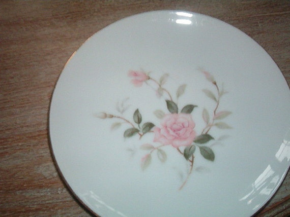 Vintage Porcelain Plate Contour China Picardy Japan Shabby Chic Pink Roses 6 3/8 In