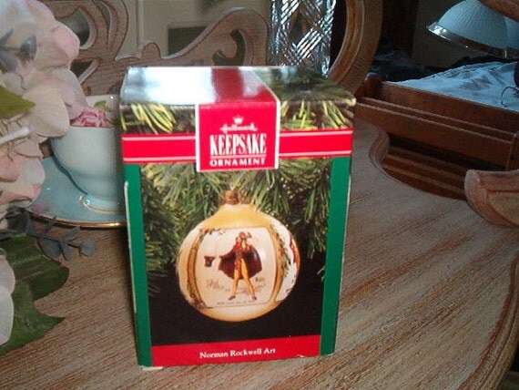 1990 Hallmark Keepsake Glass Ornament with Box and Price Tag Norman Rockwell Art The Saturday Evening Post