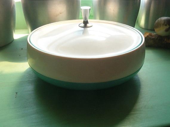 Retro Vacron Bopp Decker Plastics Inc Bowl with Lid Blue White Silver