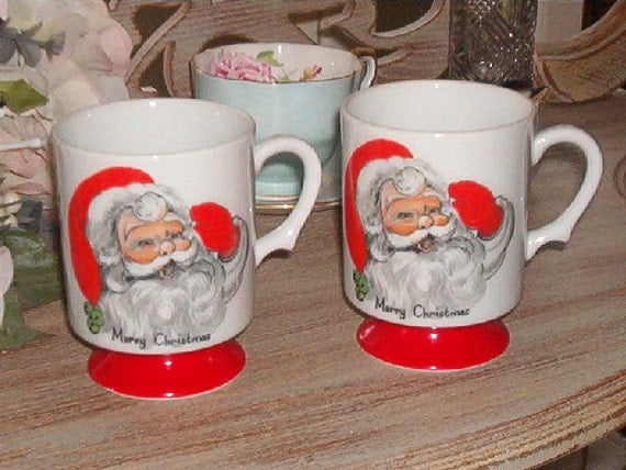 Set of 2 Vintage Porcelain Mugs with SANTA face on front  says Merry Christmas