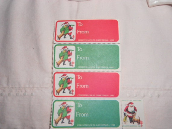 1982 Lot of 4 To From Christmas Labels and 1 Stamp Never Used Christmas Seal Greetings American Lung Association
