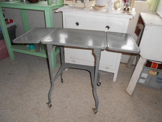 Vintage Retro Gray Metal Typewriter Table on wheels with adjustable side leafs