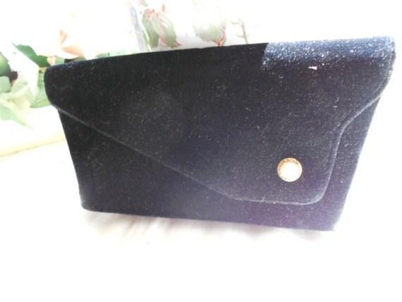 Vintage Black Velvet Clutch Style Purse Britemode