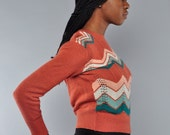 Vintage / Fitted Zig Zag Sweater /  70's / Open Weave / S M