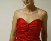 Vintage 80's Sweetheart Strapless Red Party Dress - M