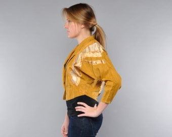 Vintage 80's Cropped Jacket / Mustard Yellow Linen / Abstract Applique / Nipped Waist / M