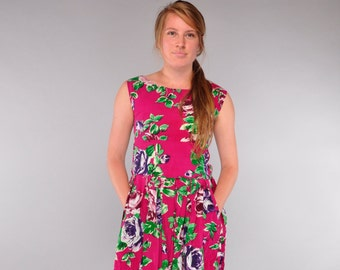 Vintage Cotton Sundress // Button Back Smocked Dress // Hot Pink Floral Dress with POCKETS // S M