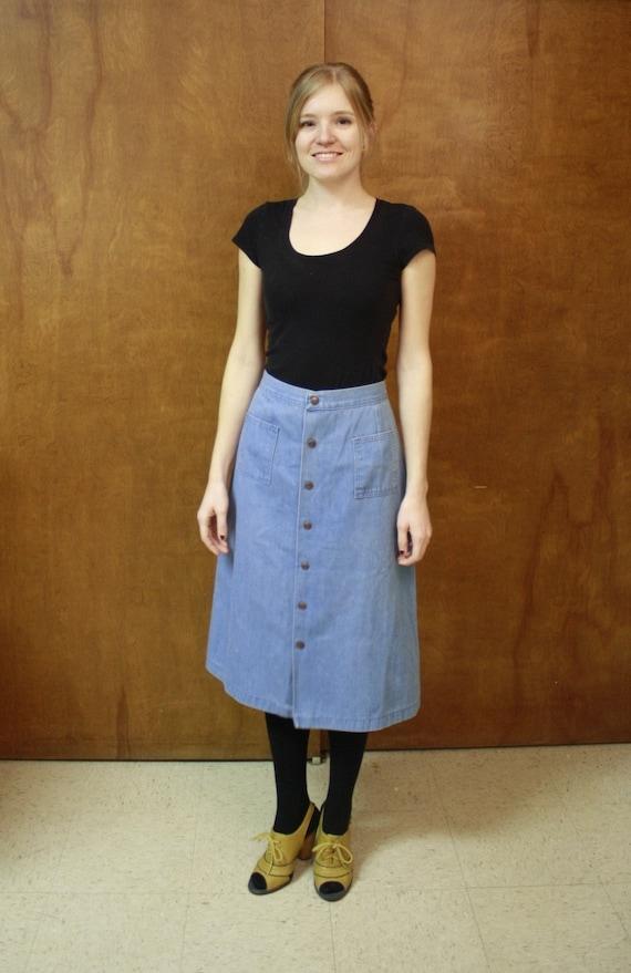 Snappy - Vintage Denim Skirt - 70's - S