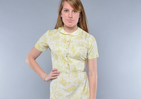 Vintage Toile Dress // Pintucked Bodice // Peter Pan Collar // Day Dress