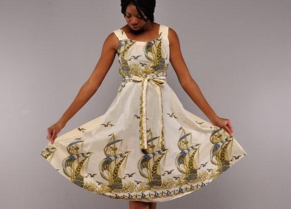 Vintage Ships at Sea Sundress // 70's Wrap Dress // Border Print Skirt  // M L