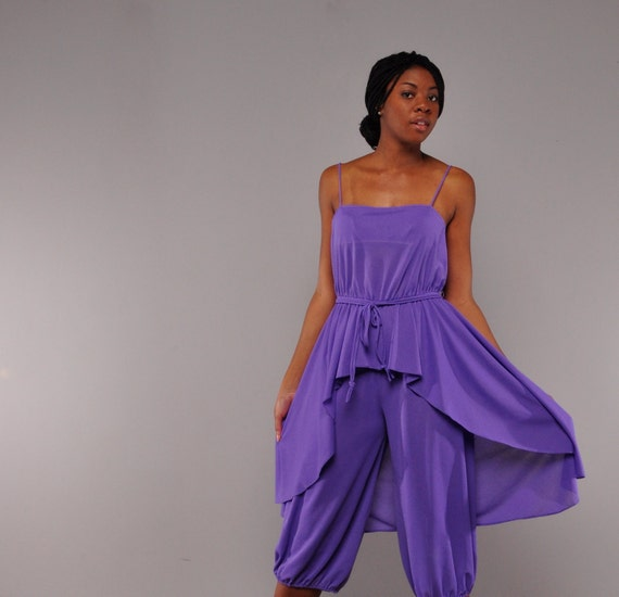 Insane Vintage Jumpsuit -- Purple Harem Pants -- Exaggerated Peplum -- M L