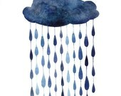 Indigo Raindrops Raindrops original watercolor painting