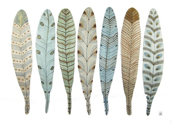 Fanciful Feather Collection No. 1 original watercolor painting