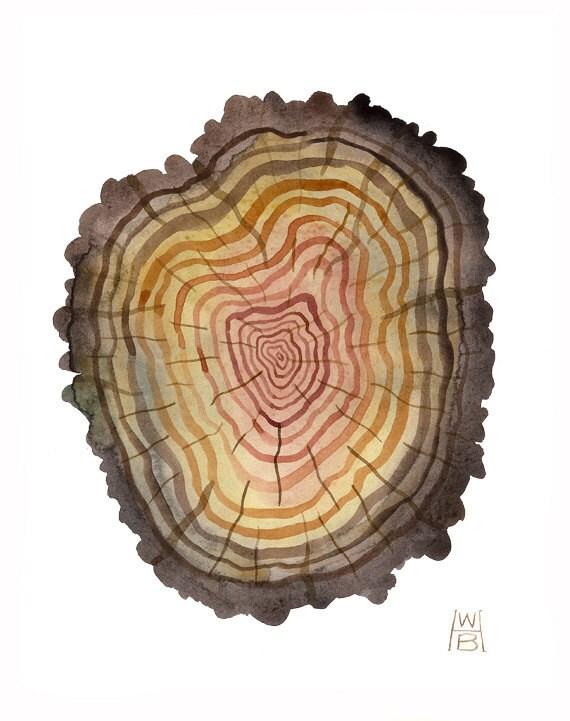Log No. 68 original watercolor painting