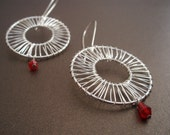 Damsels in Distress earrings - Wire wrapped mesh donuts and faceted red glass bead