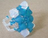 White and Blue Swarovski ring