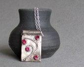 Ruby Cubic Zirconia Necklace - Precious Metal Clay - Valentines Gift