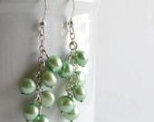 Mint Green Pearl Earrings