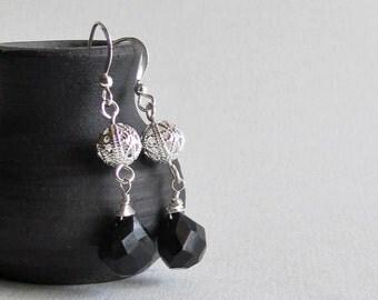 Black Chalcedony Earrings