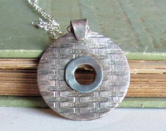 Round Textured Metal Clay Necklace - Basketweave Texture - Metal Clay Necklace - Textured Pendant Necklace