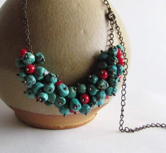 RESERVED Turquoise and Coral Necklace on Antiqued Brass