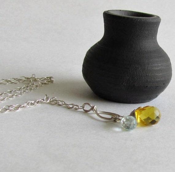 Dusk Blue and Lemon Zest Necklace