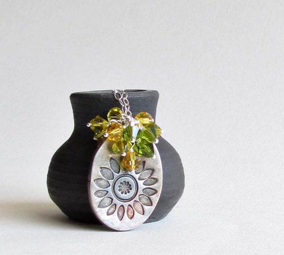Sunflower Necklace Precious Metal Clay