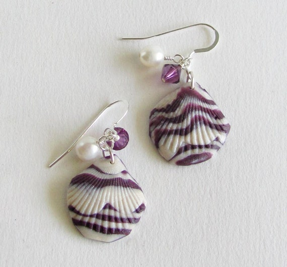 Sea Shell Earrings Polymer Clay