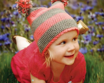Easy Crochet Hat Pattern - Easiest Hat You'll Ever Make -  toddler size - PDF pattern - Fun Photography Prop - Instant Download