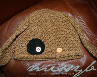 Cute Crochet Puppy Hat Pattern -  EASY - boy or girl, child kid size - Fun Photography Prop - Instant Download