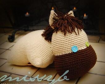 Crochet Horse Pillowpet Pattern - Pony Stuffed Pillow Toy - kids favorite - PDF Pattern -  Instant Download