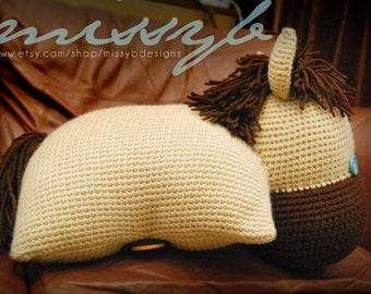 Crochet Horse Pillow Pet Pattern - Pony Stuffed Pillow Animal Toy - PDF Pattern - Instant Download