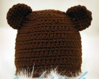 Easy Crochet Newborn Hat Pattern - Baby Bear Hat -  birth to 3 month size - PDF pattern - Fun Photography Prop - Instant Download